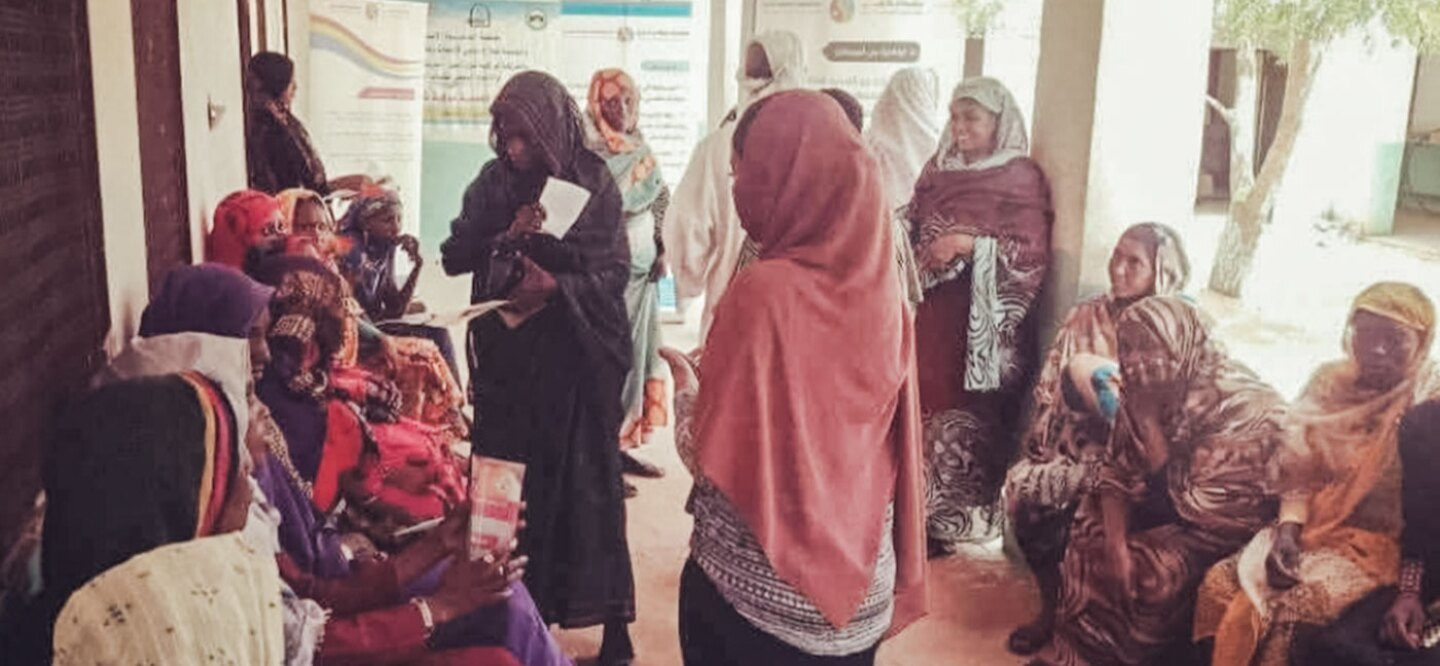 Image from a health education session in Darfur.