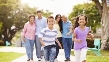 Multigenerational family walking on sidewalk