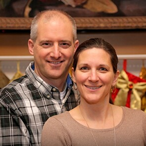 Johnson and Johnson employee Cameron Bernadsky and his wife Kelly