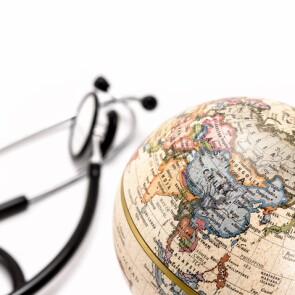A globe and a stethoscope