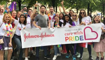 The Johnson & Johnson Open&Out team in Brussels, Belgium, celebrating Pride in May 2019