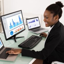 Woman working on computers
