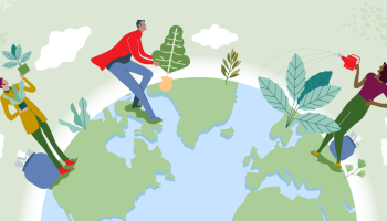 Illustration of people standing on Earth and holding plants