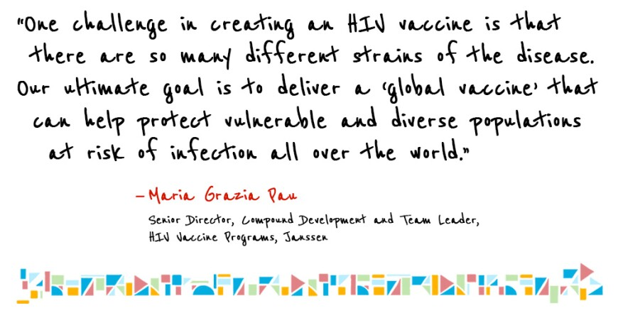 Illustrated quote by Janssen's Maria Grazia Pau talking about the goal of creating a global HIV vaccine.