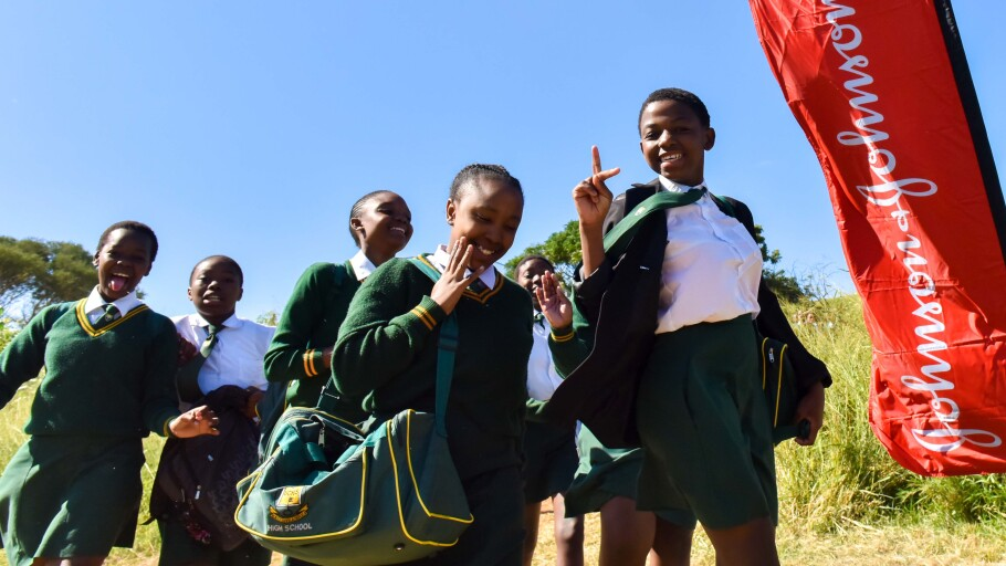 School-age members of a program that aims to reduce HIV infections among young women in sub-Saharan Africa
