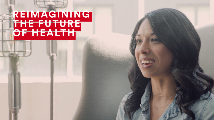 """Image of woman with """"Reimagining the Future of Health"""" graphic"""