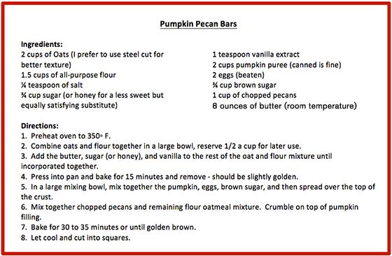 Pumpkin Pecan Bars Recipe