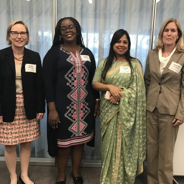 Peterson with Jennifer Taubert, Company Group Chairman, Pharmaceuticals, The Americas (far right) and mentees who participated in the Global Women's Mentoring Partnership at Johnson & Johnson