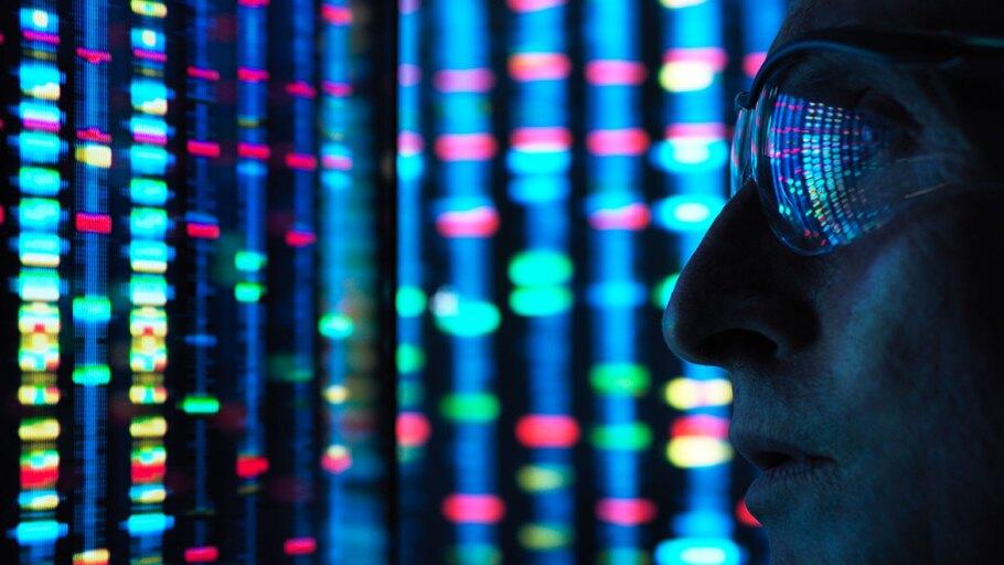 Scientist observing genes