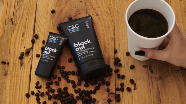 Two different sizes of C&C by Clean & Clear Black Out Blackhead Clearing Coffee Scrub