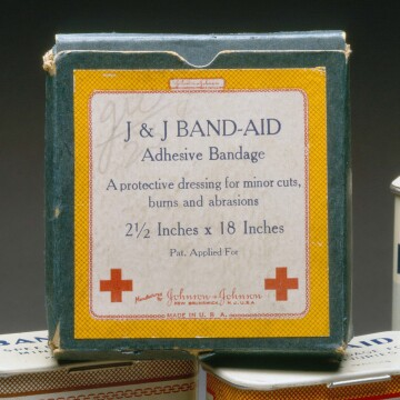 One of the first boxes of BAND-AID® Brand adhesive bandages from 1921