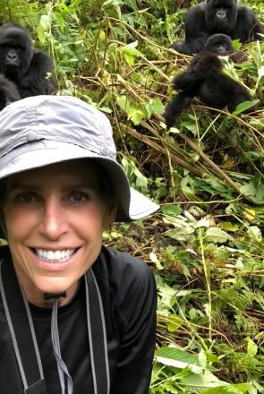 Cat Oyler on a gorilla trek in Rwanda