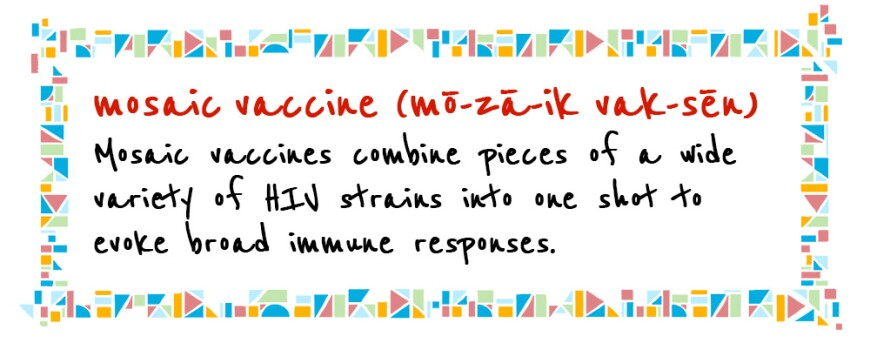 Illustrated handwritten definition of a mosaic HIV vaccine