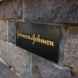 A sign at Johnson & Johnson World Headquarters in New Brunswick, NJ