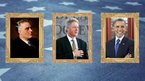 A collage of photos of President Theodore Roosevelt, President Franklin Delano Roosevelt, President Bill Clinton and President Barack Obama