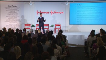 Johnson & Johnson Chairman and CEO Alex Gorsky addressing employees about Our Credo's 75th anniversary