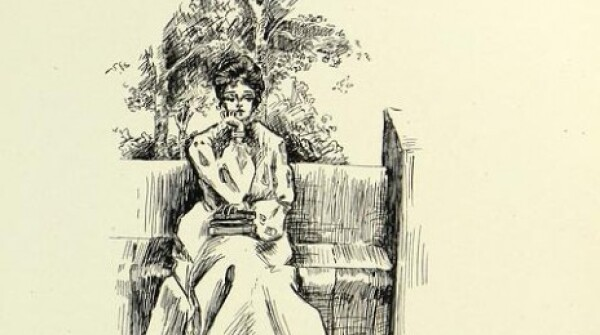 "An illustration depicting a woman sitting on a bench and holding books with the text ""The Eternal Question: Bookworm or Butterfly - which?"""
