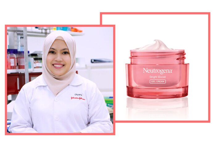 Diyana Sudarsono, Senior Scientist, Skin Health, Johnson & Johnson Pte. Ltd. (Singapore) with Neutrogena Bright Boost Gel Cream.