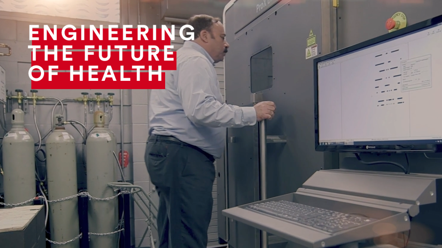 An infographic for Engineering the Future of Health and featuring a man working in a lab