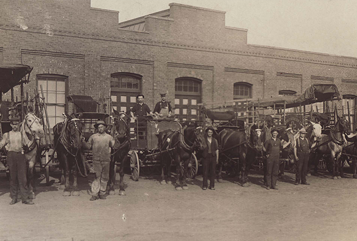Johnson & Johnson's Horse and Carriages That Delivered Scrap Wood to Workers For Kindling