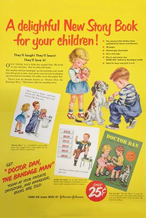 Advertising poster of Doctor Dan the Bandage Man classic kids book