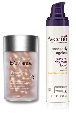 Exuviance® Vitamin C20 Serum Capsules and Aveeno® Absolutely Ageless® Pre-Tox Leave-on Day Mask Lotion Broad Spectrum SPF 30
