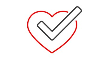 A graphic of a black checkmark across a red heart