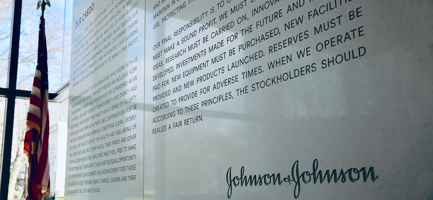 The J&J Credo, etched in marble, in the lobby of Johnson & Johnson headquarters in New Brunswick, NJ
