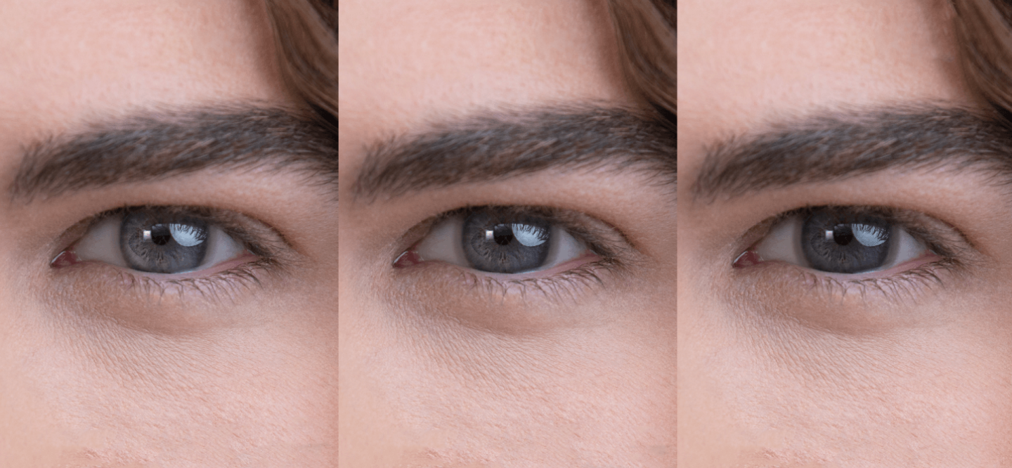 Eyes showing how contact lenses respond to changing light conditions via a photochromic filter
