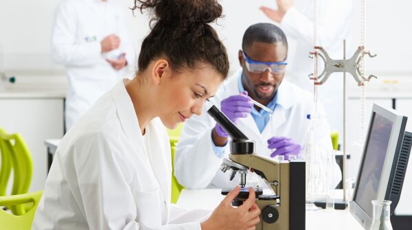 A photo of scientists in a lab