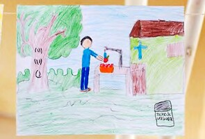 Student's hand drawing depicting good hygiene and handwashing