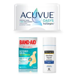 Acuvue® Oasys with Transitions™ Light Intelligent Technology™ contact lenses; Neutrogena® Ultra Sheer® Liquid Sunscreen Broad Spectrum SPF 70; BAND-AID® Brand HYDRO SEAL® waterproof bandages