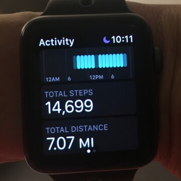 Cat Oyler's activity tracker showing she walked over 7 miles eight days after open heart surgery