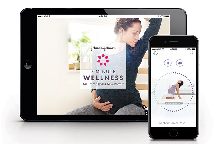 An infographic showing 7 Minute Wellness for Expecting and New Moms™ App on devices