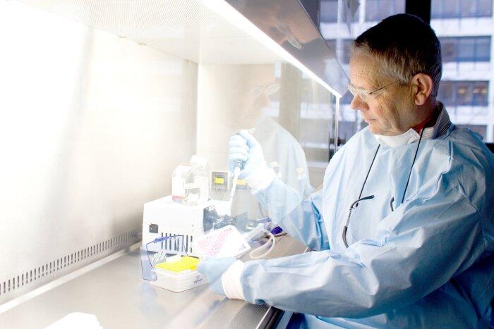 Koen Andries, Distinguished Research Fellow, Janssen, Belgium, at work in the lab