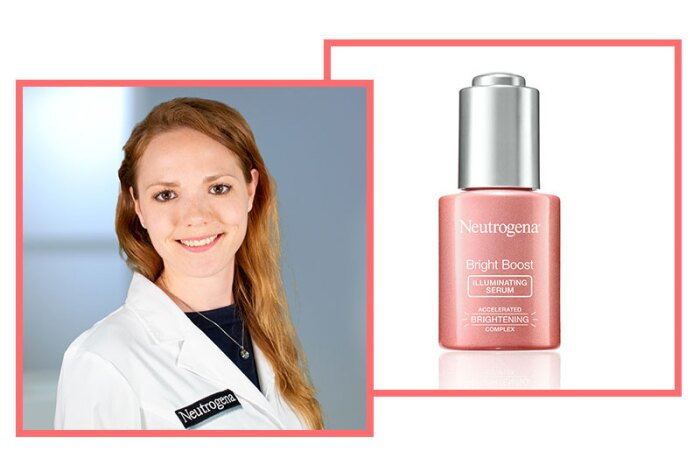 Anna Rose, Principal Scientist, R&D Skin Health, Johnson & Johnson Consumer Inc., with Bright Boost Illuminating Serum