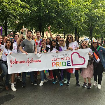 Johnson & Johnson employees at a Pride march in Brussels, Belgium