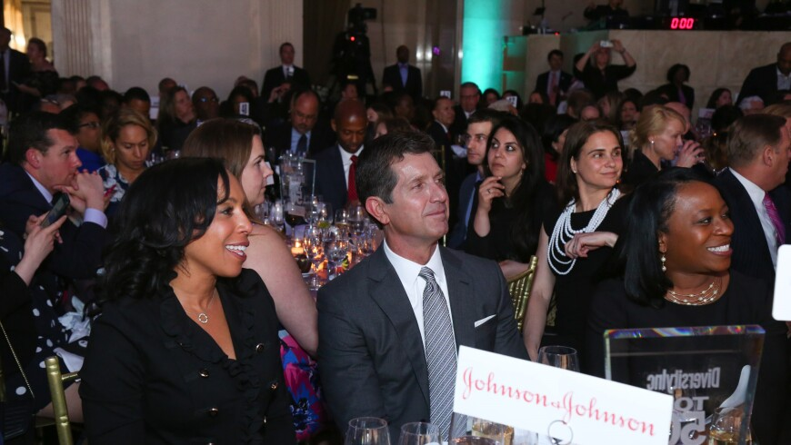 Wanda Bryant Hope (left) and Alex Gorsky at the 2018 DiversityInc Top 50 Companies for Diversity Gala