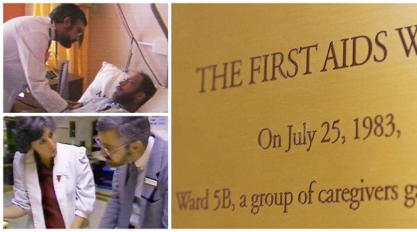 Images of Cliff Morrison at Ward 5B at San Francisco General Hospital, and a plaque memorializing Ward 5B