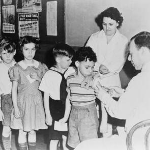 Schoolchildren Wait in Line for Immunization Shots at a Child Health Station in New York City, Circa 1946.