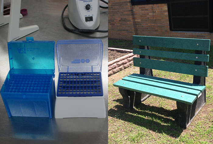 Benches Made from Recycled Plastic Boxes