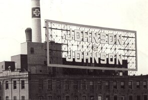 A historic Johnson & Johnson rooftop sign.